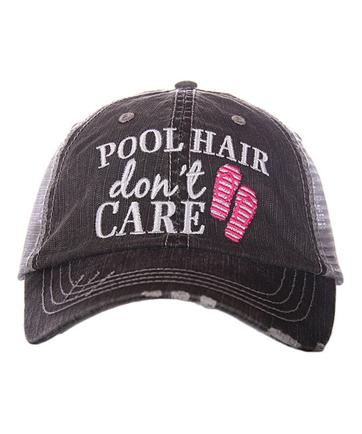 Take a look at this Katydid Collection Gray & Hot Pink 'Pool Hair Don't Care' Trucker Hat today!