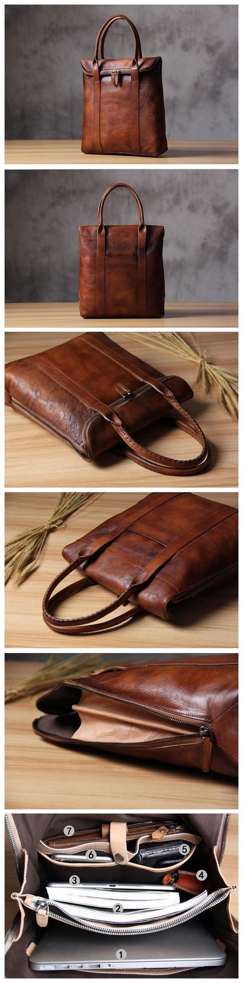 Leather Briefcase Men's Business Bag Handbag Men Fashion Laptop Bag 14118 Overview: Design: Vintage Leather Men Briefcase In Stock: 4-5 days For Making Include: Only Leather Briefcase Custom: No Color