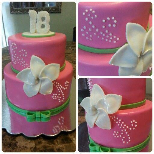 Birthday, fondant cake, plumeria