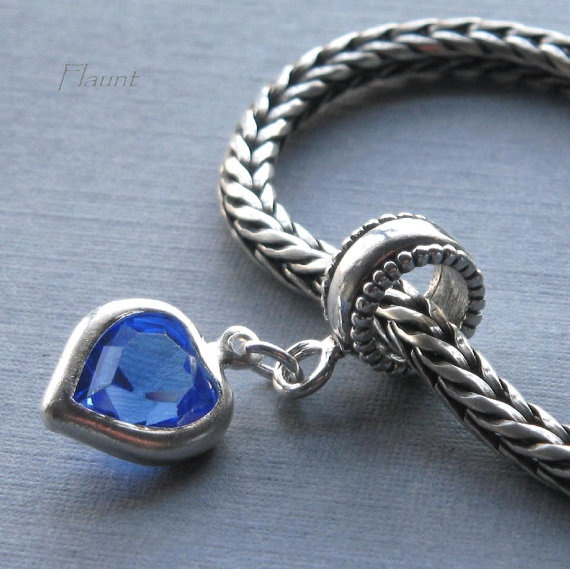 blue heart pandora trollbeads style charm by. Black Bedroom Furniture Sets. Home Design Ideas
