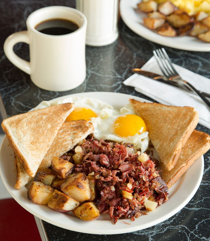 Corned beef hash at Mul�s Diner in South Boston.