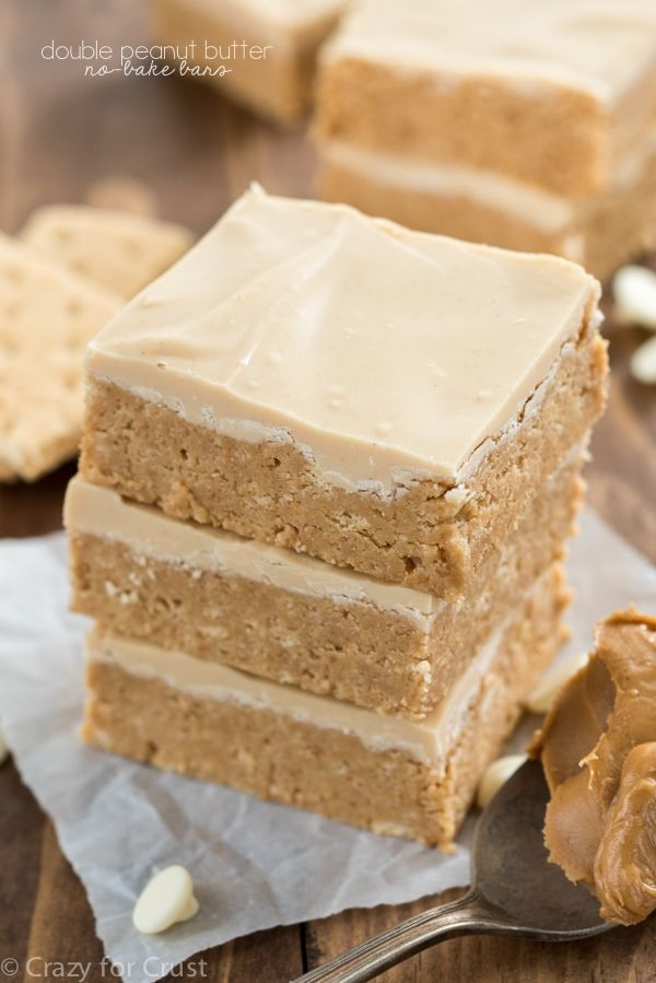 Like the inside of a peanut butter cup, these double peanut butter bars are easy, no-bake, and come together in minutes. Topped with peanut butter white chocolate these bars are a super peanut buttery recipe!