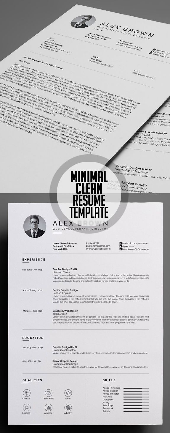 Chronological Resume Samples%0A Minimal and Clean Resume Template  cvresume  resumetemplate  minimalresume   psdresume  psdtemplates