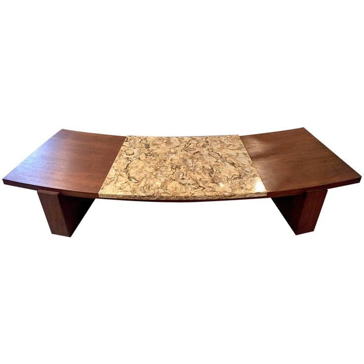 Early Walnut and Marble Curvy Coffee Table by Vladimir Kagan   See more antique and modern Coffee and Cocktail Tables at https://www.1stdibs.com/furniture/tables/coffee-tables-cocktail-tables