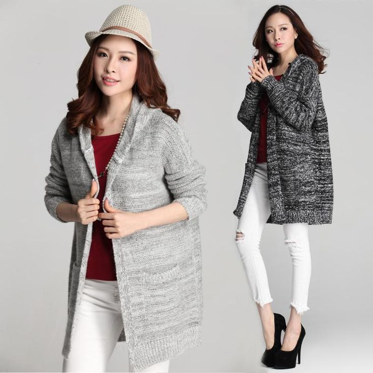 2015 Autumn Winter Casual Women Knitted Sweater Loose Style Female Cardigans Long Sleeve Outerwear Ladies Coat Wholesale Retail