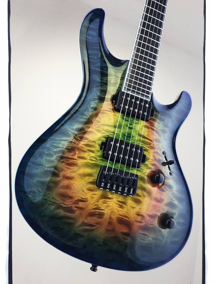 """Mayones Regius Core Classic 6 Custom Shop, Quilted Maple 4A grade top, Dirty Rainbow Gloss finish, Swamp Ash body back, 11-ply neck-thru-body section, Ebony fingerboard, 16"""" fingerboard radius, 25.4"""" scale, 24 Ferd Wagner jumbo frets, Luminlay SG-20 side dot markers, 3-ply White ABS / Acrylic Gray binding (fingerboard & head), Bare Knuckle Pickups"""