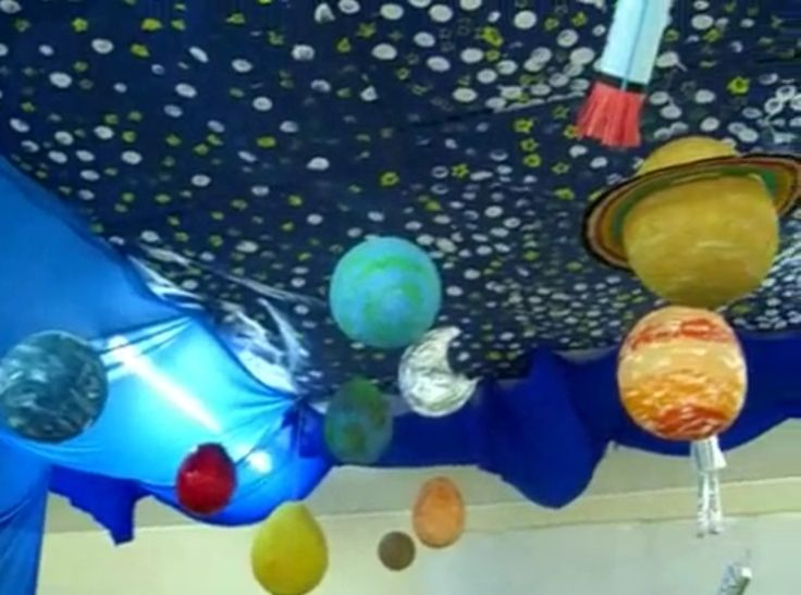 Decorate the school room like this for the space unit - Hanging planets decorations ...