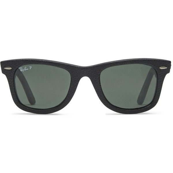 Ray-Ban Ray-Ban 2140 Wayfarer Black Leather Polarized ($300) ❤ liked on Polyvore featuring accessories, eyewear, sunglasses, glasses, black, ray ban wayfarer, wayfarer style sunglasses, ray-ban, wayfarer style glasses and wayfarer glasses