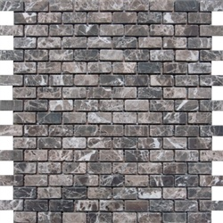 Stone Mart USA's Mini Brick Emperador Dark Mosaic Tumbled Marble Mosaic Tiles