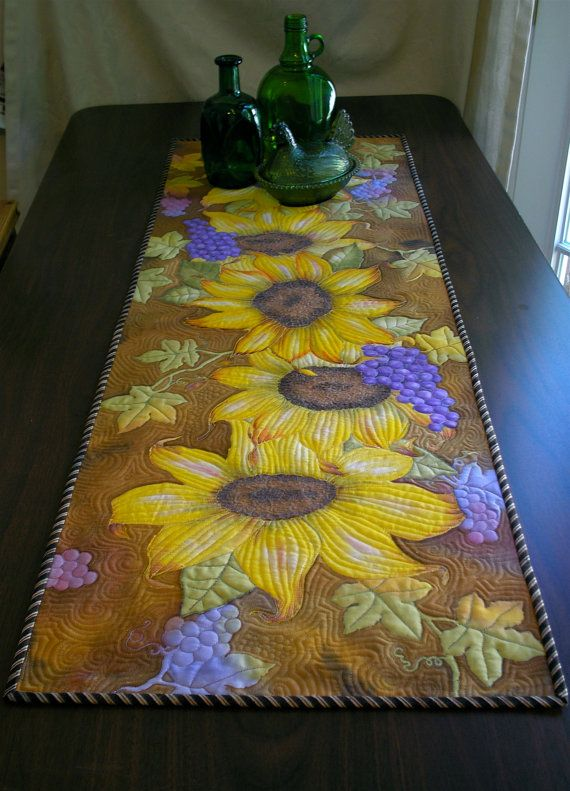 Awesome Sunflower Table Runner Hand Painted Art Quilt
