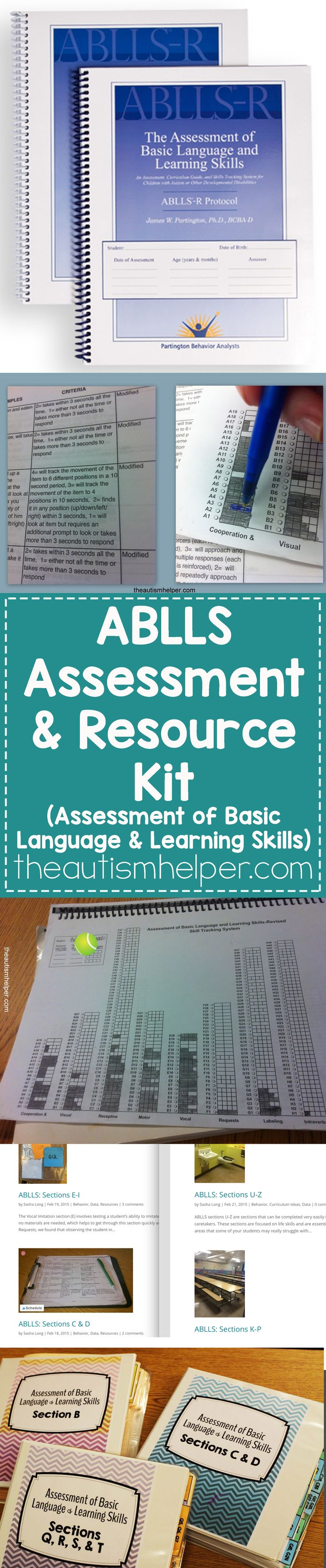 We're all about the ABLLS (Assessment of Basic Language & Learning Skills) assessment & have created a resource kit to help with the complexity! From theautismhelper.com #theautismhelper