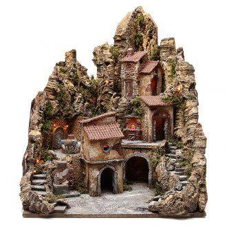 Pueblo para belén iluminado con cabaña, río y horno 80x62x58 cm | venta online en HOLYART