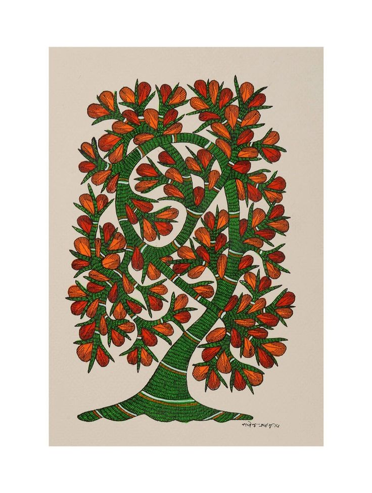 Tree Gondh Painting By Rajendra Shyam   Originally painted as symbols of good fortune on the walls of Gond tribe dwellings, this fabulous art-form has now found a uniquely contemporary expression in brilliant acrylic hues on paper and canvas.