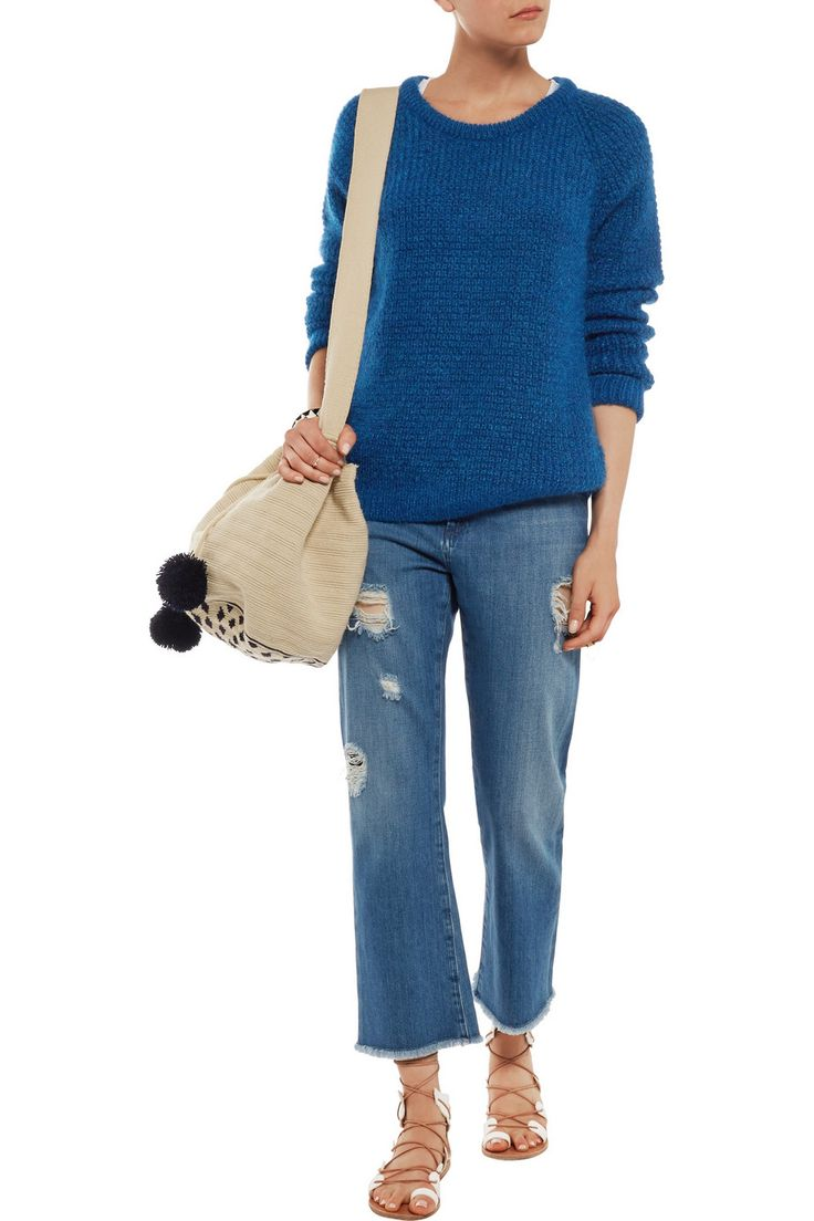 MIH JEANS Waffle-knit mohair-blend sweater