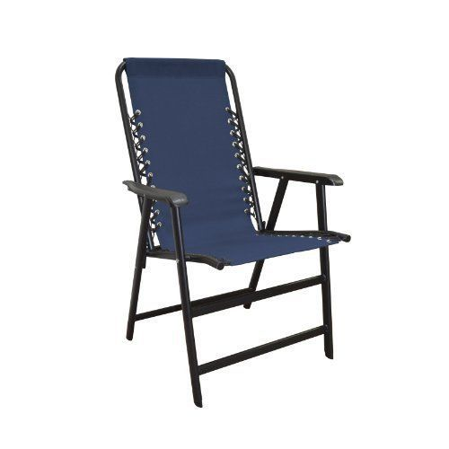 Outdoor Folding Chair Blue Suspension Lawn Patio Poolside Deck Seat Porch Hiking #CaravanSports