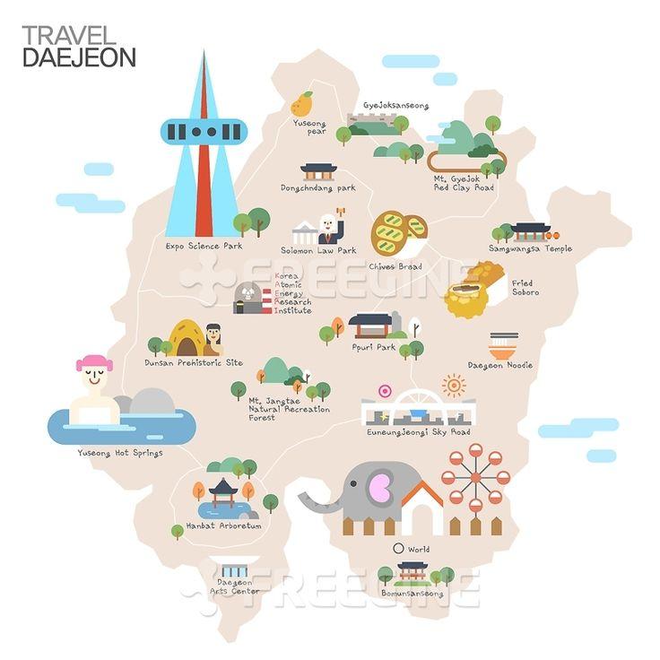 배경, 백그라운드, 남한, 대한민국, 대전, 관광, 여행, 오브젝트, 지역, 한국, 지도, 일러스트, 명소, freegine, map…