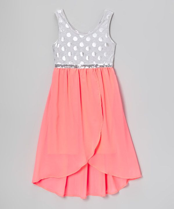 Look what I found on #zulily! Pogo Club Silver & Coral Lola Hi-Low Tank Dress by Pogo Club #zulilyfinds