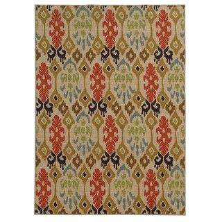 Loop Pile Ikat Design Beige/ Multi Nylon Rug (3'3 x 5'5) | Overstock.com Shopping - Great Deals on Style Haven 3x5 - 4x6 Rugs