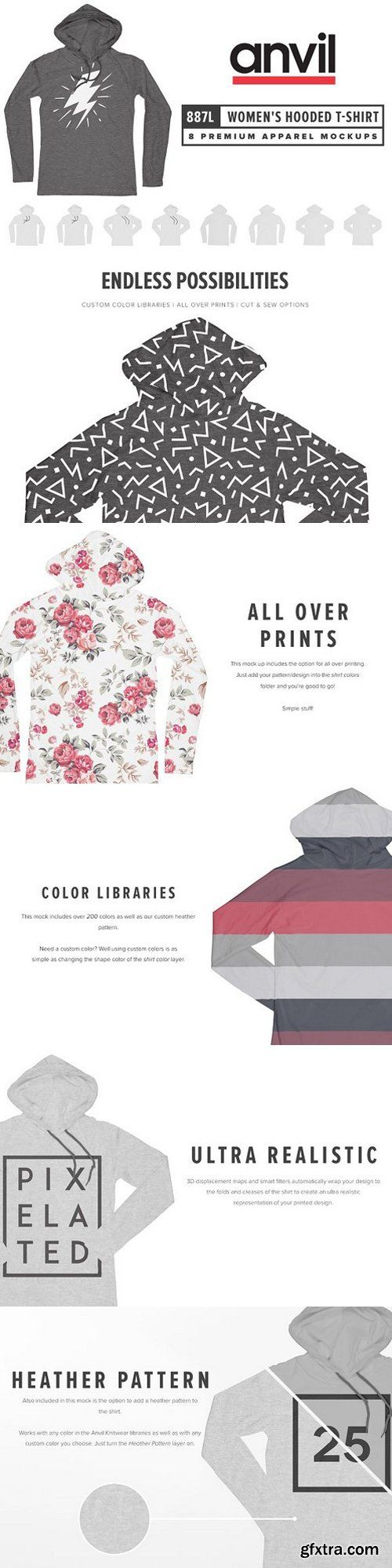 CM - Anvil 887L Women's LS Hooded T-Shirt 1616909
