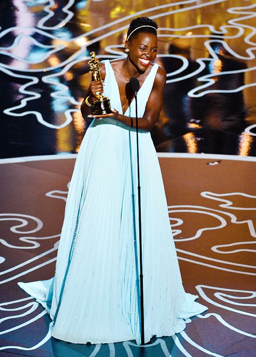 Lupita's stunning in a blue Oscar dress