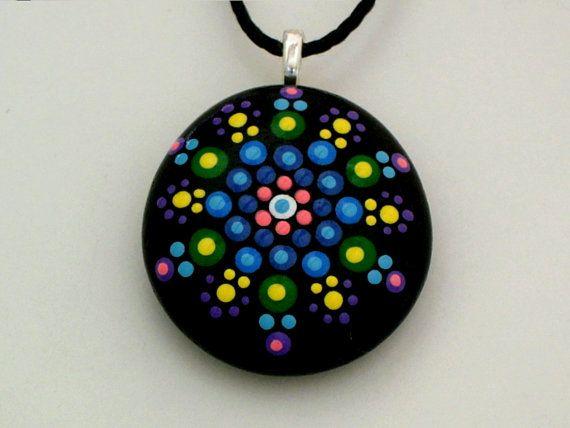 Mandala stones painted rocks, pendant necklace, Holiday gift ideas, birthday best friend gift, metaphysical yoga meditation Zen ooak 3D art
