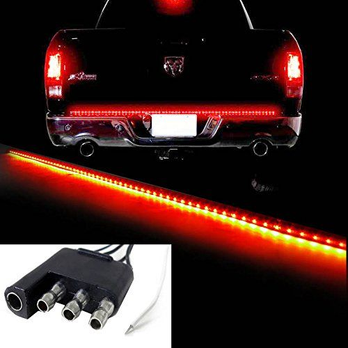 "iJDMTOY Red/White 60"" Trunk Tailgate Tail Gate LED Light Bar For Backup Reverse Brake, Turn Signal Light Functions For Ford GMC Chevy Dodge Toyota Titan Honda Truck SUV 4x4"