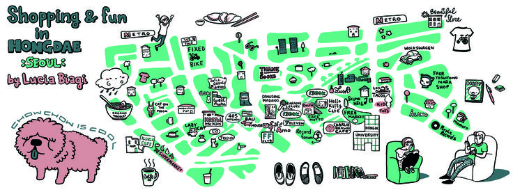 Shopping & Fun in Hongdae, South Korea by Lucia Biagi - They Draw & Travel