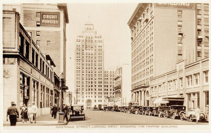 """""""Hastings Street, looking West, showing the Marine Building""""  View looking west into the 800-block of West Hastings Street from the intersection at Howe Street in Vancouver, BC.  The Marine Building, 355 Burrard Street, Vancouver, BC. Built 1929-30; extant. Architect: McCarter and Nairne."""