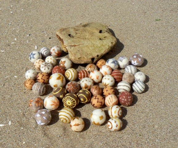 Felt beads, Sand Collection.