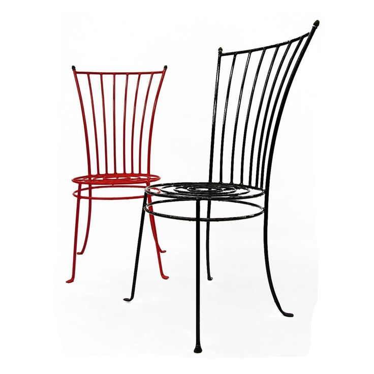 Set of Six French Midcentury Iron Garden Chairs 2