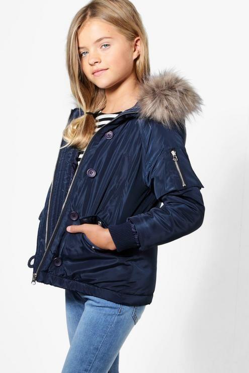 Girls Faux Fur Hooded Parka