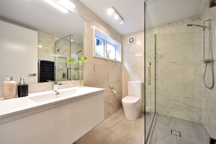 Walter St in Takapuna - large white marble tiles enhance the sense of space