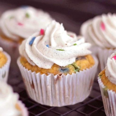Healthy Funfetti Cupcakes, from scratch! [GF, V]