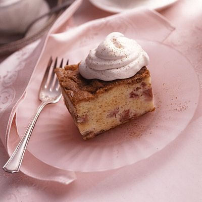 Rhubarb Sour Cream Crumb Cake Recipe from Land O'Lakes