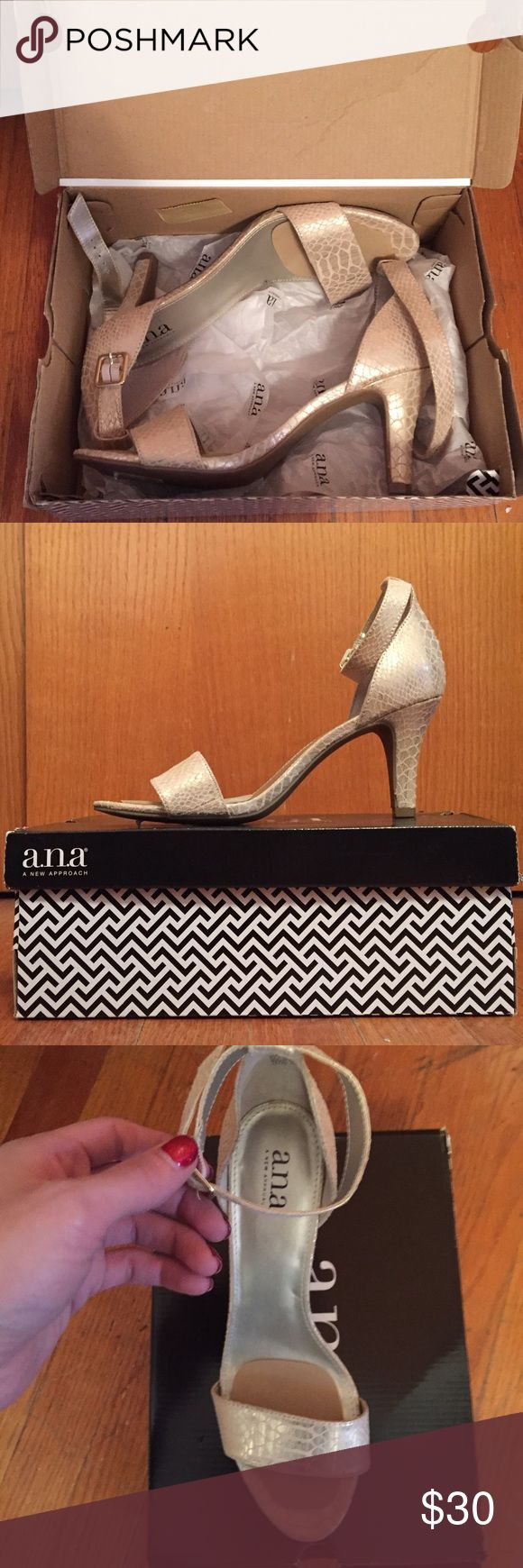 NWT a.n.a Zita metallic gold strappy sandal heels NWT IN BOX a.n.a Zita metallic gold strappy high heel sandals. Bought for a wedding and put ball of foot cushions in and wore around the house but never worn outside. a.n.a Shoes Heels
