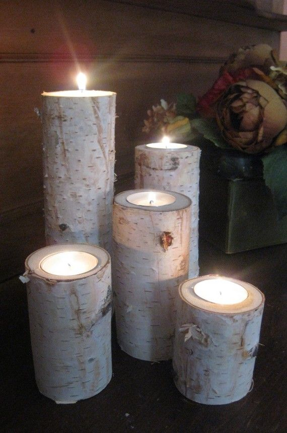 Large Birch Bark Log Tea Light Candle Holders... Love this idea for Christmas.