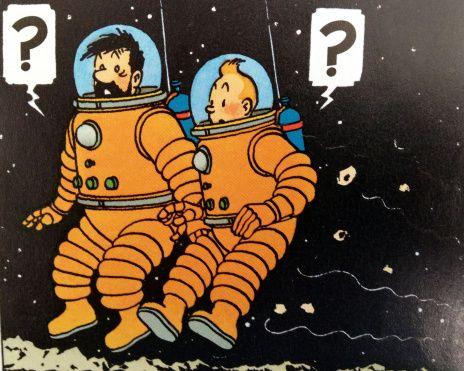 Tintin no espaço, ilustração Hergé.  -