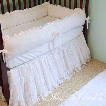 White Lace Baby Crib Bedding - White Cotton and Satin - Ruffled Lace Crib Skirt - Cotton Crib Sheet