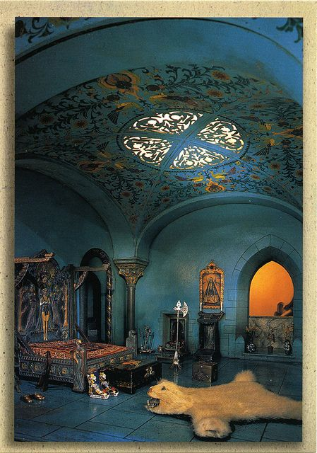 The Prince's bedroom in Colleen Moore's miniature fairytale castle, the detailing is incredible for being so tiny!