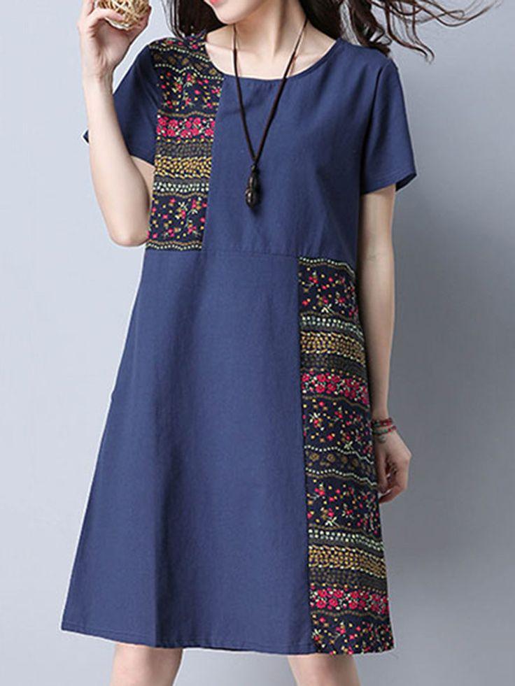 Vintage Floral Patchwork Pocket Short Sleeve Women Dresses