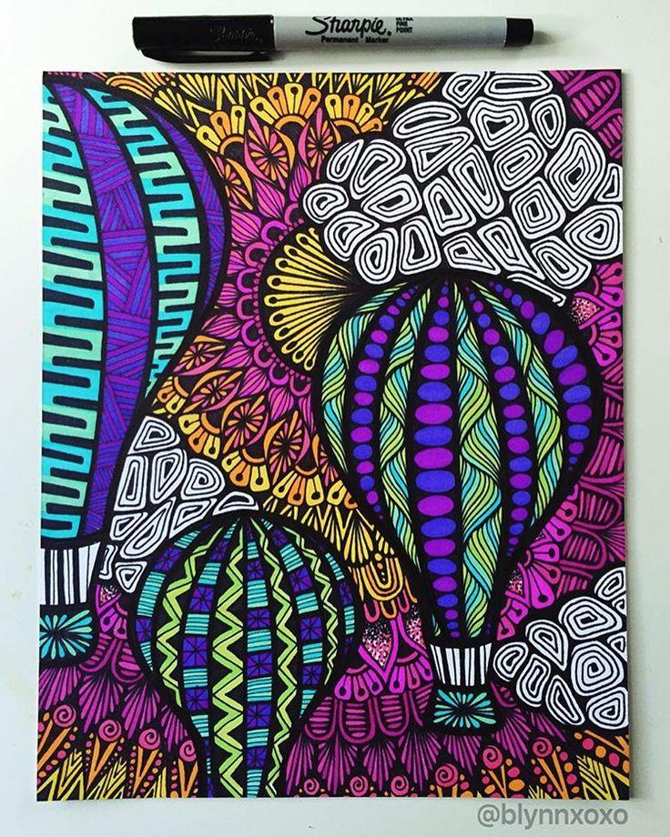 """""""let your dreams take flight"""" #sharpie #hotairballoon #zentangle #zenspiredesigns ✨"""