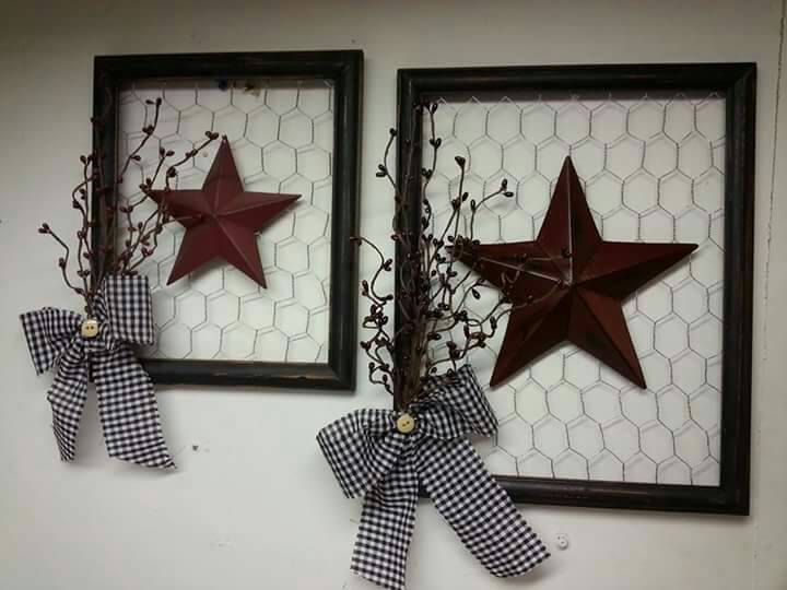 Primitive Picture Frame set by MammiesPrimsnupcycle on Etsy