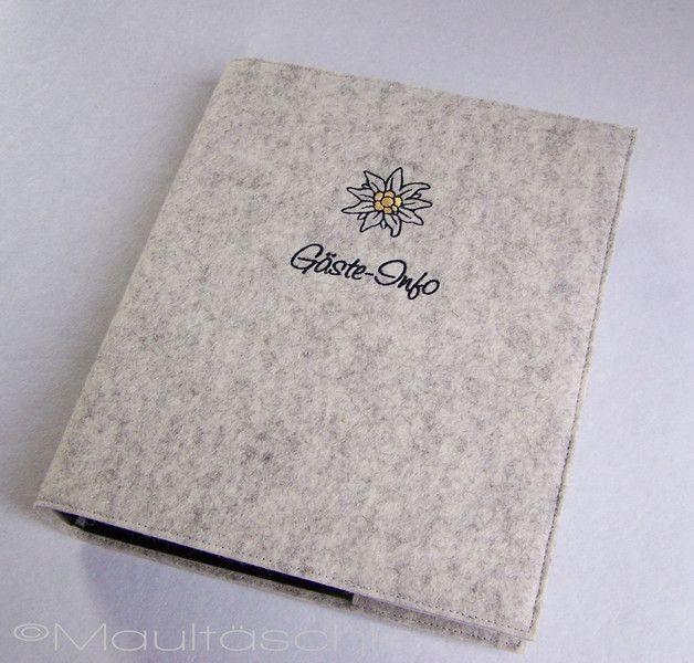 Edelweiß GästeInfo Ringbuch Gästemappe bestickt von Maultäschle auf DaWanda.com