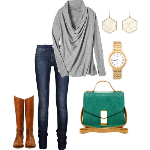 .: Fall Clothing, Green Bag, Purse, Cold Weather Style, Tall Boots, Fall Outfits, Fall Fashion, Casual Outfits, Fall Weather