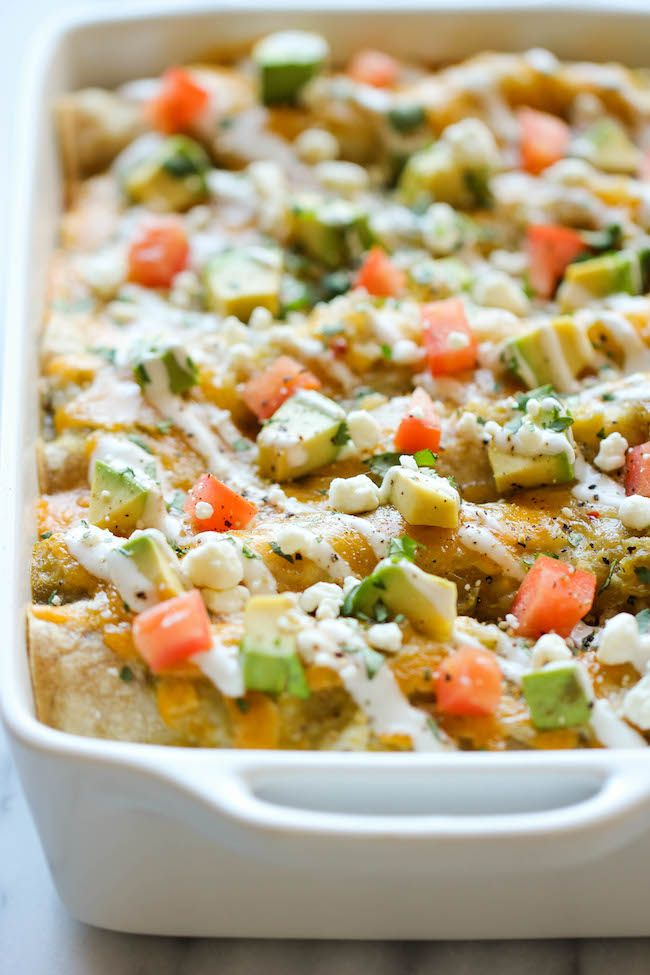 Sweet Potato Enchiladas - These cheesy enchiladas are loaded with tender sweet potato, black beans, and salsa verde goodness! | DamnDelicious.com | #dinner #enchilada_recipe