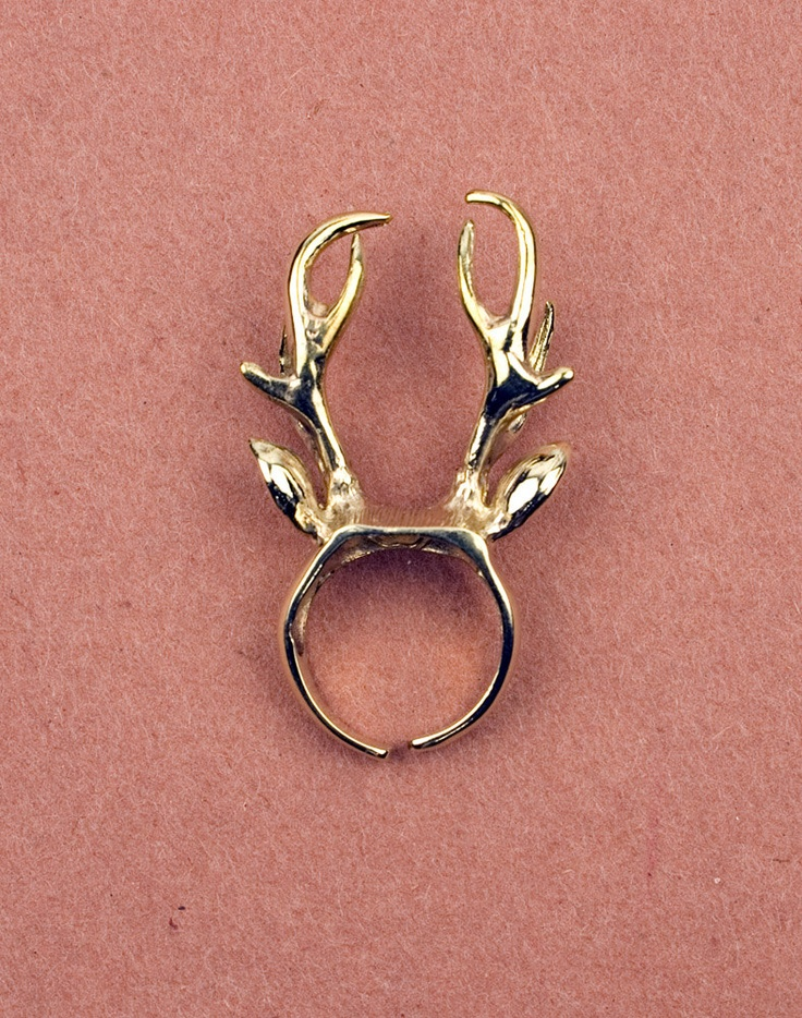 Stag Gold Ring by Modernaked on Etsy, $31.00 wish it was silver but brass is nice. <3