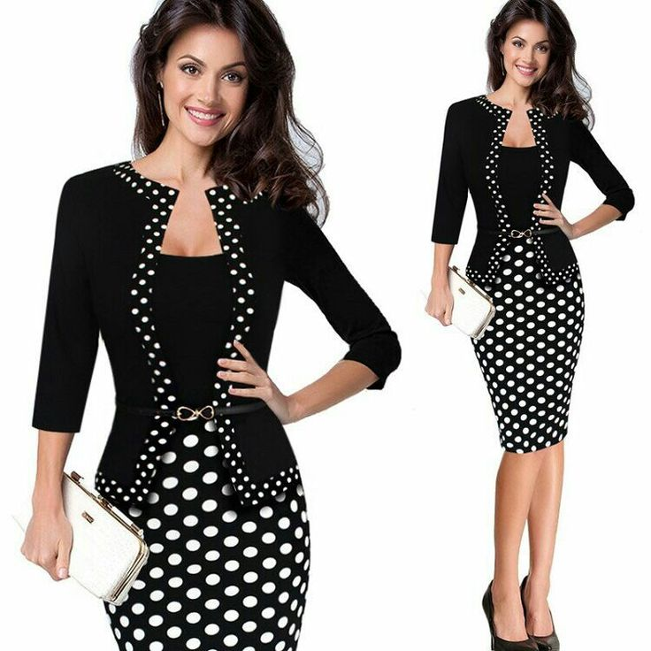 Womens Retro Faux Jacket One-Piece Polka Dot Contrast Patchwork Work Wear Office Business Sheath Dress tunic robe crayon