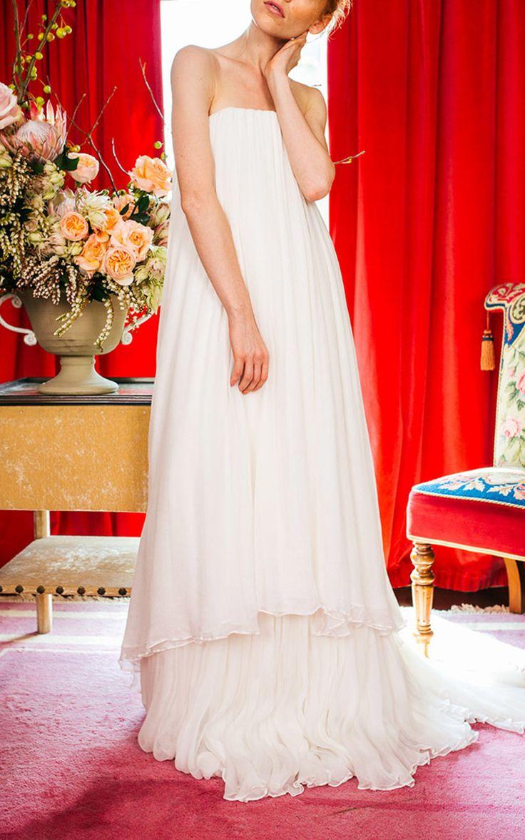 2017 Strapless Silk Chiffon Tiered Gown by Caroline Hayden | Moda Operandi…