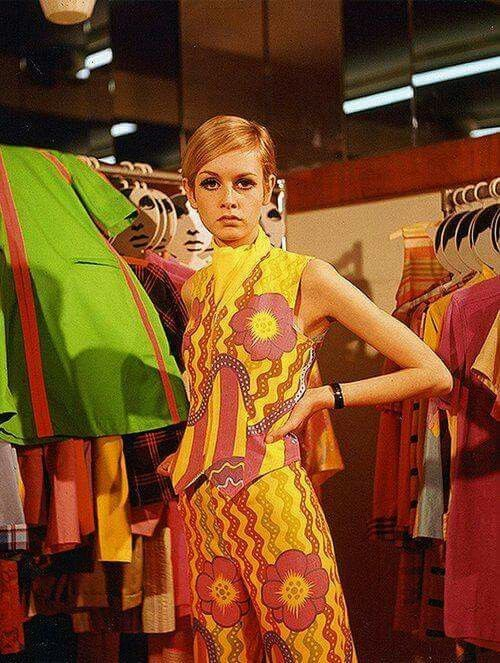 Twiggy at the ultra hip Biba boutique, mid 60s.