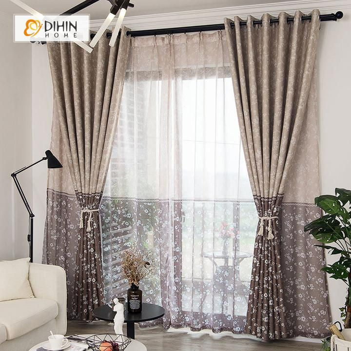 Dihin Home Small Flowers Printed Blackout Grommet Window Curtain For Living Room 52x63 Inch 1 Panel Curtains Living Room Printed Curtains Curtains